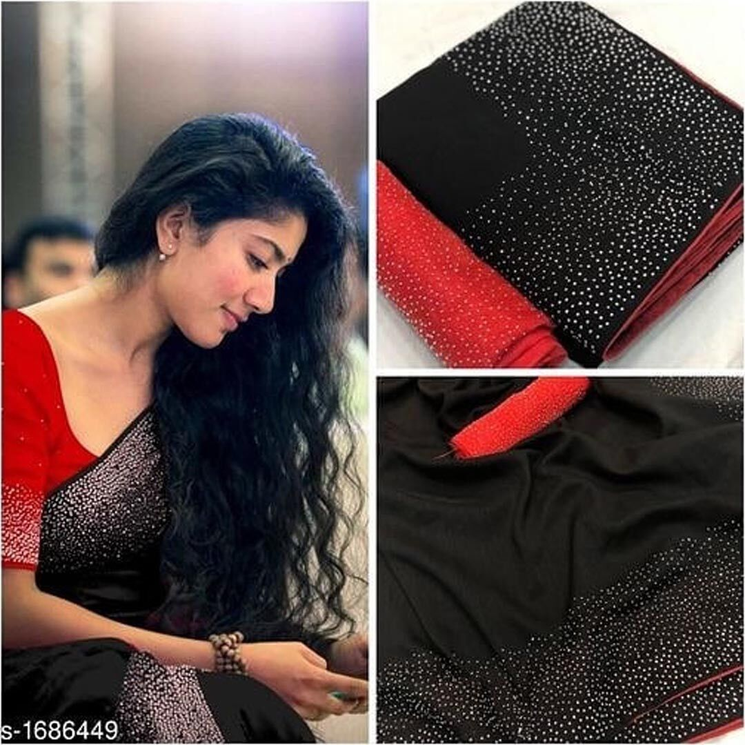 Embroidered Sana Silk Saree MDS-25-Black