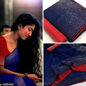 Embroidered Sana Silk Saree MDS-25-Navy Blue