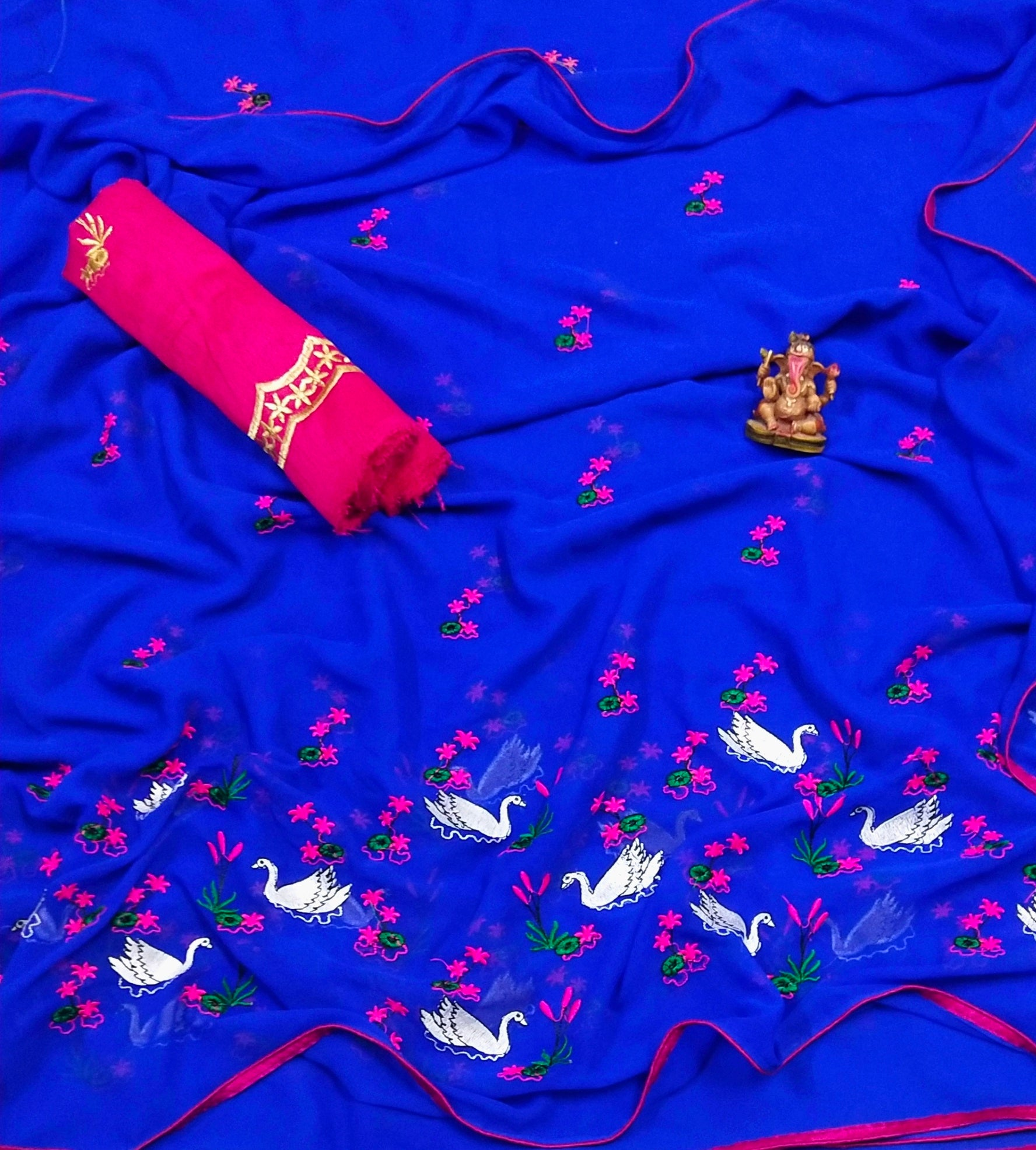 Embroidered Chiffon Saree MDS-14-Blue