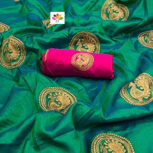 Embroidered Sana Silk Saree MDS-20-Firozi