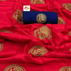Embroidered Sana Silk Saree MDS-20-Red