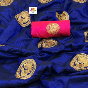 Embroidered Sana Silk Saree MDS-20-Royal Blue