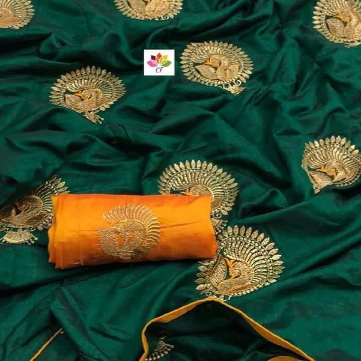 Embroidered Sana Silk Saree MDS-21-Green