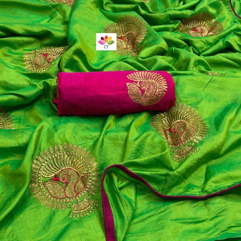 Embroidered Sana Silk Saree MDS-21-Parrot