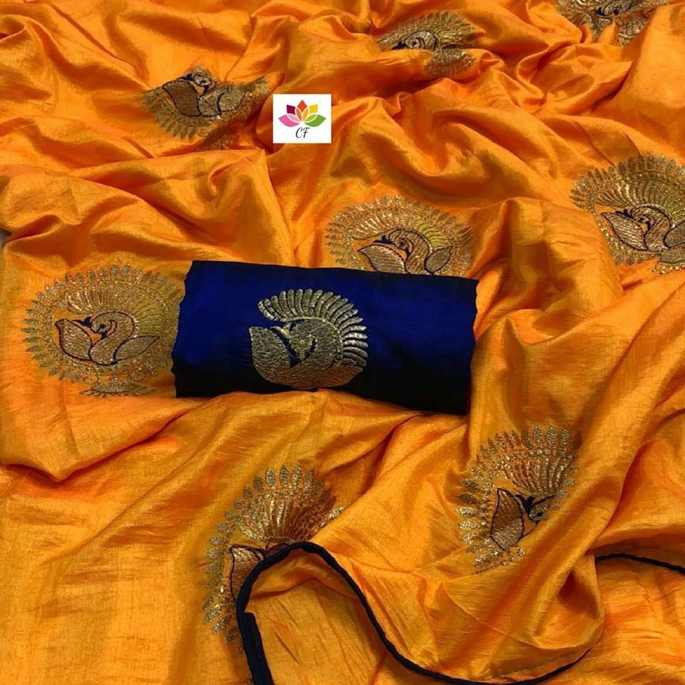 Embroidered Sana Silk Saree MDS-21-Yellow