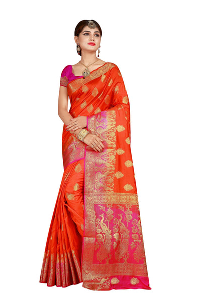 Meera Border Orange Color Pure Banarasi Silk Saree