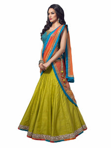Designer Semi-stitched Party Wear Lehenga Choli- Madhavi Parrot