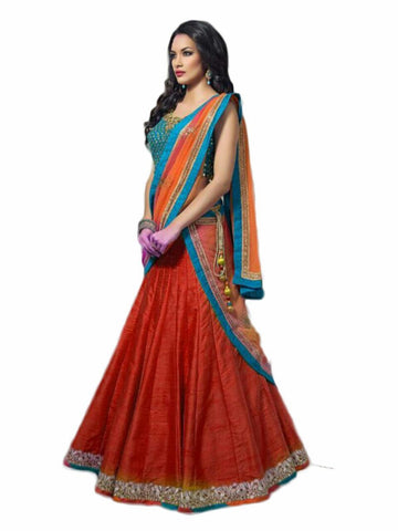 Designer Semi-stitched Party Wear Lehenga Choli- Madhavi Dark Fanta
