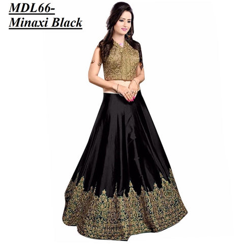 Designer Embroidered Semi-stitched Party Wear Lehenga Choli- Minaxi Black