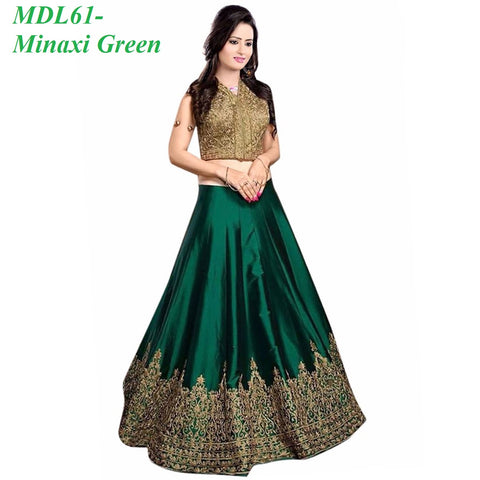Designer Embroidered Semi-stitched Party Wear Lehenga Choli- Minaxi Green