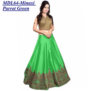 Designer Embroidered Semi-stitched Party Wear Lehenga Choli- Minaxi Parrot