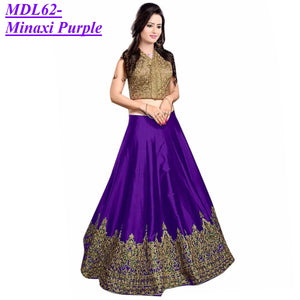 Designer Embroidered Semi-stitched Party Wear Lehenga Choli- Minaxi Purple