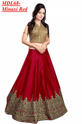 Designer Embroidered Semi-stitched Party Wear Lehenga Choli- Minaxi Red