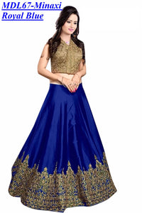 Designer Embroidered Semi-stitched Party Wear Lehenga Choli- Minaxi Royal Blue