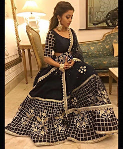 Navy Blue Color Embroidered Semi-stitched Wedding Lehenga Choli