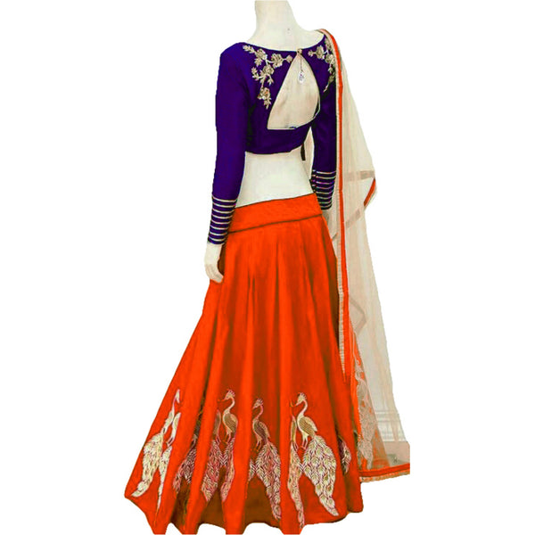 Awesome Orange Color Embroidered Semi-stitched Designer Lehenga Choli