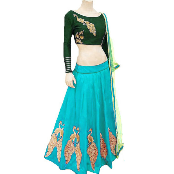 New Sky Blue Color Embroidered Semi-stitched Designer Lehenga Choli