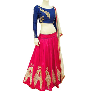 Awesome Pink Color Embroidered Semi-stitched Designer Lehenga Choli