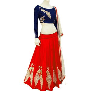 New Red Color Embroidered Semi-stitched Designer Lehenga Choli