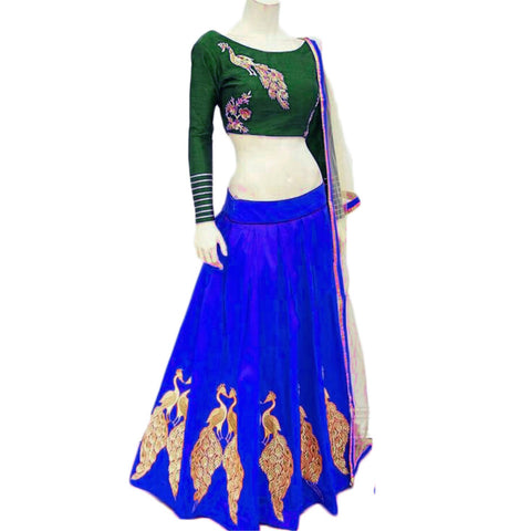 New Royal Blue Color Embroidered Semi-stitched Designer Lehenga Choli