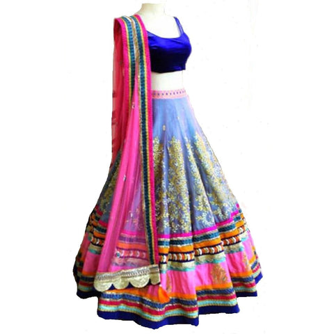 Designer Multi Color Embroidered Semi-stitched Party Lehenga Choli