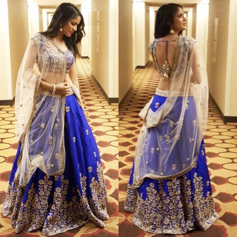 Blue Color Embroidered Semi-stitched Party Wear Lehenga Choli