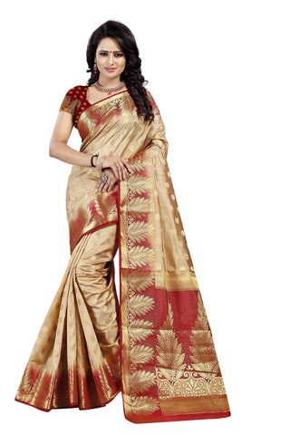 Pan Butti Beige Color Pure Banarasi Silk Saree
