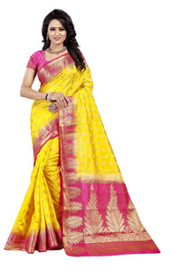 Pan Butti Lemon Color Pure Banarasi Silk Saree