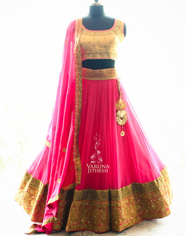 Pink Color Embroidered Semi-stitched Party Wear Lehenga Choli