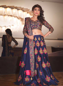 New Navy Blue Color Embroidered Semi-stitched Wedding Lehenga Choli