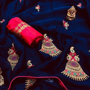 Embroidered Chiffon Saree MDS-08-Blue
