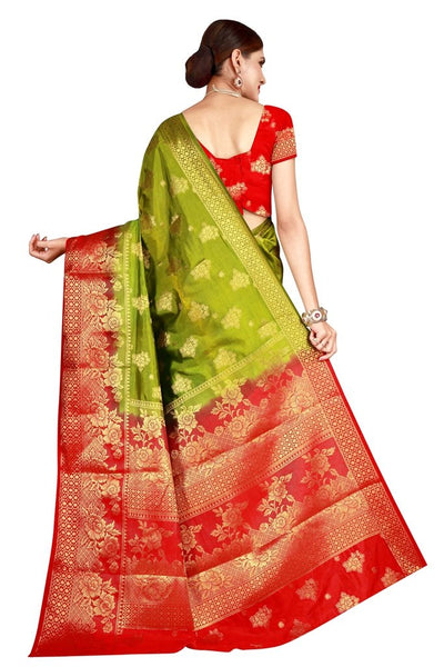 Rose Border Mahendi Red Color Pure Banarasi Silk Saree