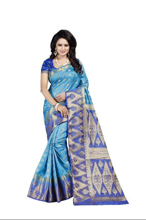Rubby Firozi heavy Designer Soft SIlk Banarasi Saree