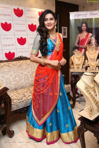 Sky Blue Color Embroidered Semi-stitched Wedding Lehenga Choli