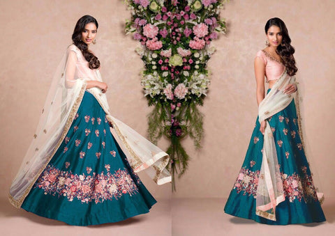 Firozi Color Embroidered Semi-stitched Lehenga Choli