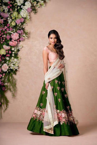 Green Color Embroidered Semi-stitched Lehenga Choli
