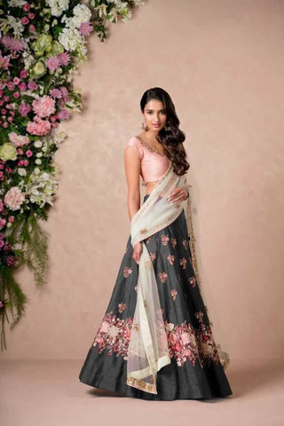 Grey Color Embroidered Semi-stitched Lehenga Choli