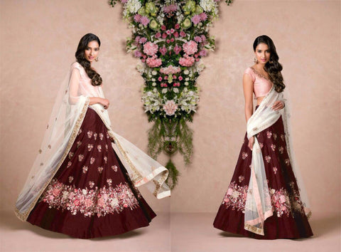 Maroon Color Embroidered Semi-stitched Lehenga Choli