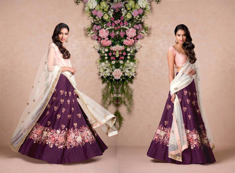 Purple Color Embroidered Semi-stitched Lehenga Choli