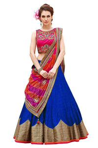 Royal Blue Color Semi-Stitched Lehenga Choli-Roza R Blue
