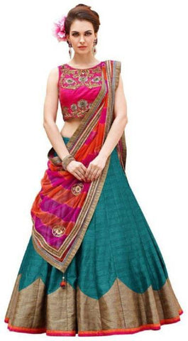 Firozi Color Semi-Stitched Lehenga Choli-Roza Firozi