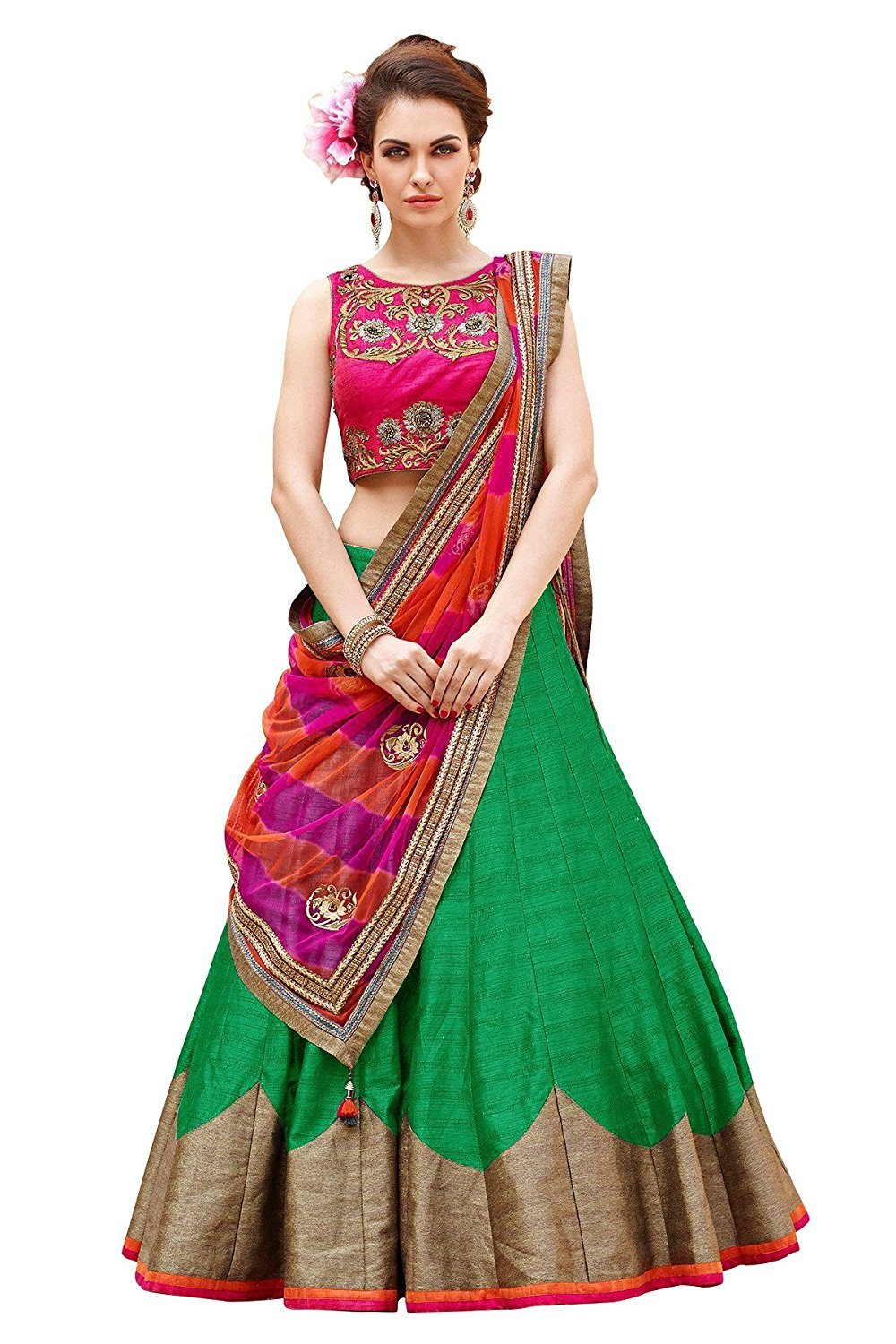 Parrot Green Color Semi-Stitched Lehenga Choli-Roza Green