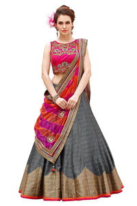 Grey Color Semi-Stitched Lehenga Choli-Roza Grey