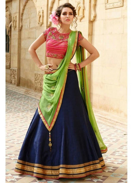 Navy Blue Color Semi-Stitched Lehenga Choli-Roza N Blue