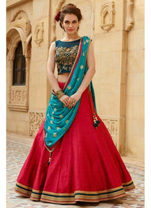 Red Color Semi-Stitched Lehenga Choli-Roza Red