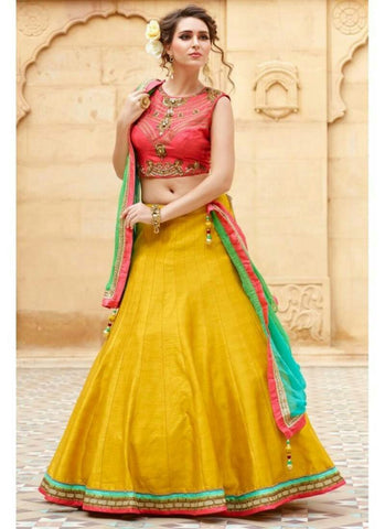 Yellow Color Semi-Stitched Lehenga Choli-Roza Yellow
