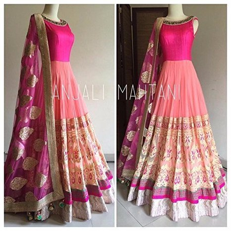 Designer Anarkali Salwar Suit with Embroidery Work- Samira Flower