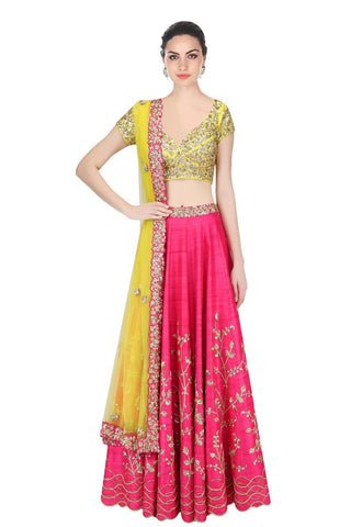 Pink Color Embroidered Semi-stitched Wedding Lehenga Choli