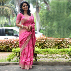 Baby Pink Soft Silk Designer Saree UK5021