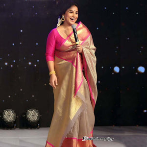 Awesome Pink Border Soft Silk Designer Saree UK5027